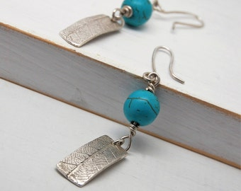 Fine Silver Leaf Drop Earrings with Turquoise Beads