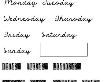 All Week Long - planner stamps - photopolymer clear stamps - days of the week