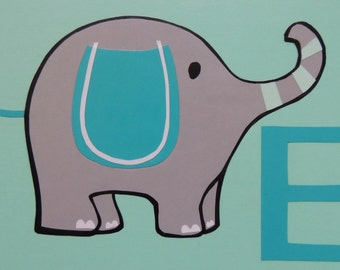 """Alphabet Collage, E is for Elephant - 9"""" x 12"""" Wall Hanging"""