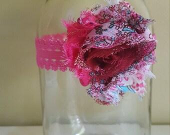 Vintage pink flower headband