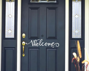 Welcome Vinyl Decal for Front Entry Door