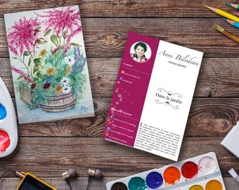 4 x 6 pink flowery style greeting card