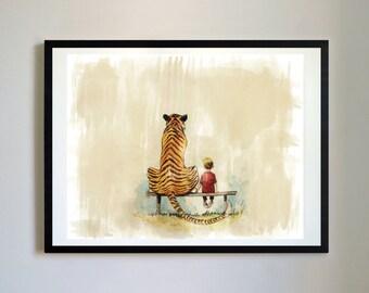 Calvin and Hobbes #15 - Park Bench, Nursery Art Print, Decor, Poster, Picture, Childrens Art, Kids Room