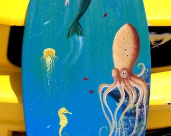 Mermaid & Octopus, handcrafted, hand painted Surfboard Wall Art