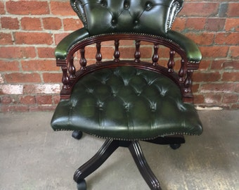 Original Chesterfield Leather Captains Office Chair