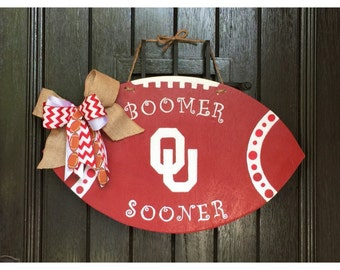 OU Football Door Hanger - Wooden Football Door Hanger