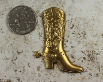 Cowboy Boot Brass Stamping Country Western Cowboys On The Range Flea Market Retro