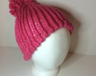 Pink Crochet Pom Pom Beanie Winter Hat