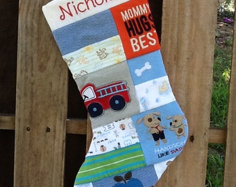 Custom made Christmas stocking from baby clothes