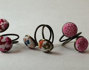 Handmade fabric button rings