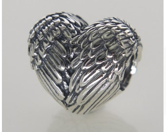 Metal heart Angel Wings charms Pandora bracelet compatible