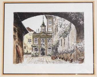 Marianne L Almasy etching--Hungarian city scene