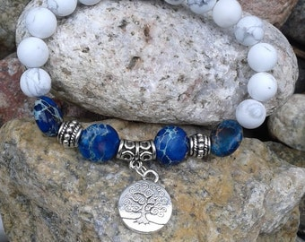 32) Bracelet Howlite, Jaspe Impérial et breloque arbre de la vie - tea tree life charm