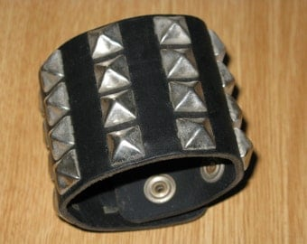 "Vintage Moto Chic Black Leather & Stud 2.5"" Wide Band Snap Cuff Bracelet"