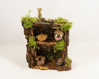 Fairy Shelving Unit - Fairy House, Fairy Storage, Fairy Furniture, Pixie, Elf, Miniature Accessories, Fairy Doors, Dollhouse,Dolls Furnitur