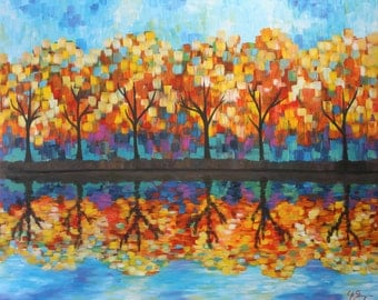 Autumn Trees Reflection Painting Canvas Print, Red Yellow Landscape Wall Art, Fall Colors Giclee