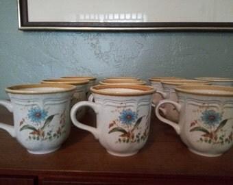 10 mikasa blue daisies coffee tea cups EB 804