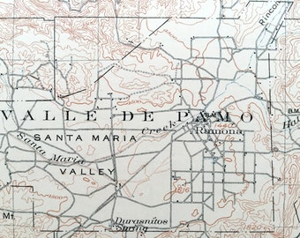 Antique Ramona California 1903 Us Geological Survey Topographic Map San Diego Riverside County
