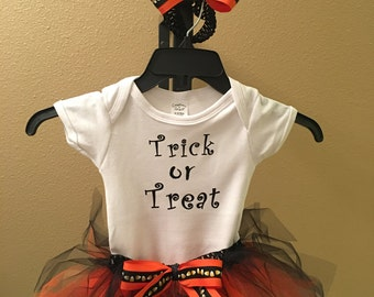 Baby/Toddler Halloween Trick or Treat onesie or t-shirt, tutu, and headband bow