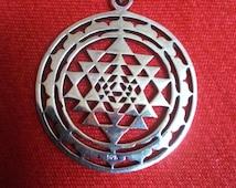 92.5 Sterling Solid Silver Shree Yantra Hindu Deity Goddess Lakshmi Yantra Beautiful Cosmic Energy Pendants.