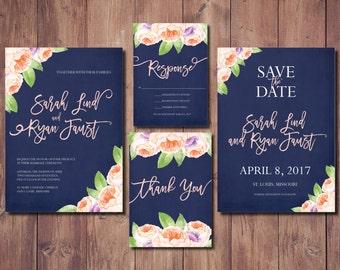Printable Wedding Invitation, Floral Wedding Invitation, Peony wedding Invitation, Pink & Navy Boho Wedding Invite, Peony Invitation