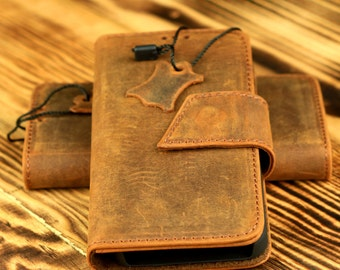 iPhone 5 - 5s -SE Leather Wallet Case -Handmade Genuine Leather Case with Magnet Lock, Vintage Wallet Cover