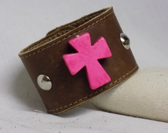 Leather Bracelet with Pink Cross