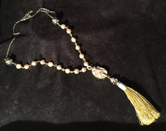 Druzy Quartz Pendant Necklace w/ Tassel