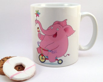 Happy Pink Elephant Ceramic Mug