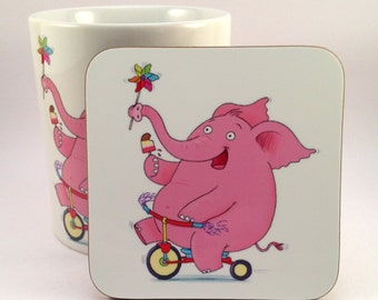 Happy Pink Elephant Coaster