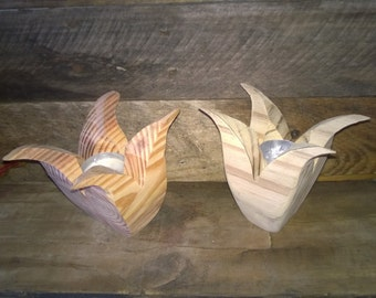 Wooden Tulip Votif Candle Holders (Unfinished)