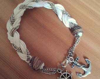 Bamboo natural-metal anchor and rudder pendants white-wire braided bracelet