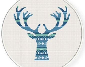 Buy 2 get 1 free. Deer - Cross Stitch Pattern.(#P- 1241). Modern Cross Stitch Pattern. Geometric cross stitch pattern . INSTANT DOWNLOAD