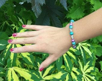 Metallic Blue and Splatter Purple Beaded Bracelet