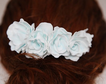 Blue Floral Bridal Comb, Freshwater Wedding Comb, Rhinestone Wedding Headpiece, Floral Bridal Headpiece, Flower Comb for Bride