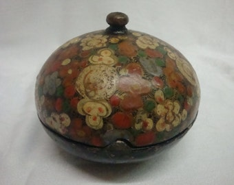 Antique powder box painted paper mache