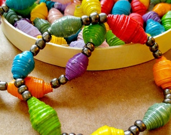 Eco-Friendly Recycled Paper Beaded Upcycled Bracelet Set of Two