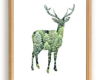 Deer and pine forest poster.