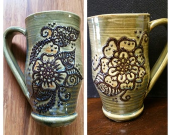 Handmade ceramic olive green garden gift mug for coffee and tea, traditional henna flower design, 14 ounce #46