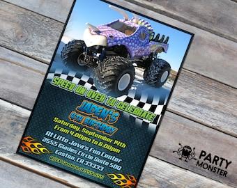 Monster truck birthday invitation, Monster truck party, Monster truck invite, DIY, Printable Monster truck invitation, Boys Birthday Invite