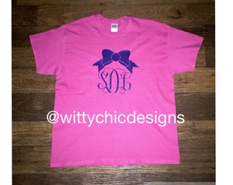 Monogram Bow Tee with Initial