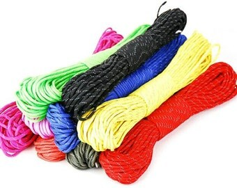 Reflective 550 paracord 50ft polyester, free shipping worldwide assorted colors