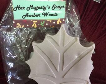 Amber woods scented leaf soap