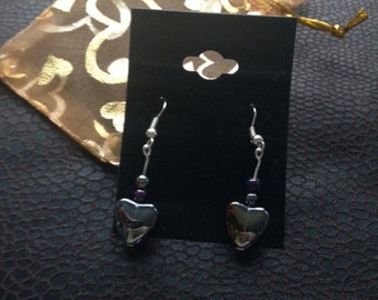 Beautiful Silver Plated Heart Drop Earring