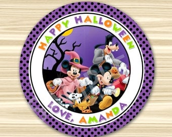 Halloween Thank You Tag. Mickey Halloween Favor Tag. Mickey Halloween Sticker. Diy Halloween Birthday Party. 2.5 inch Circle.