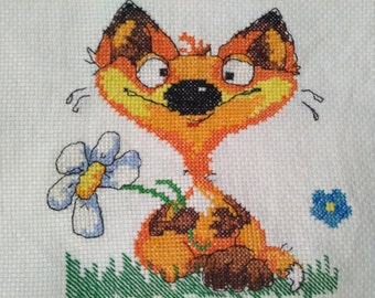 Fox, handmade cross-stitch