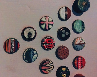 Hand painted bottle cap magnets