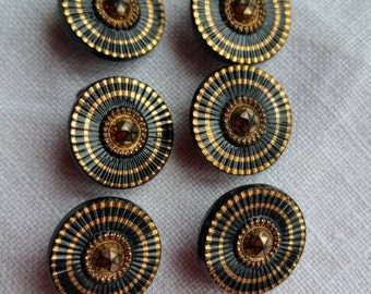 Black and gold vintage glass buttons.   Set of 6.  1.4 cm.  Gorgeous/black/gold/glass/vintage buttons/set of 6/metal shanks/sewing/knitting
