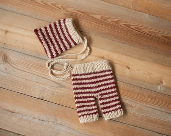 Cranberry & Tan striped pixie and Pants set