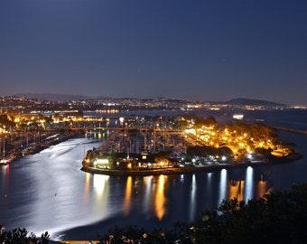 Moonlight over Dana Point Harbor (Southern California, Orange County, USA)